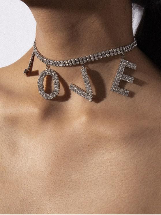 online Rhinestone Love Graphic Choker Necklace - SILVER