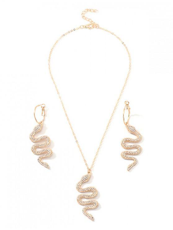 Snake stras pandantiv bijuterii Set - Auriu