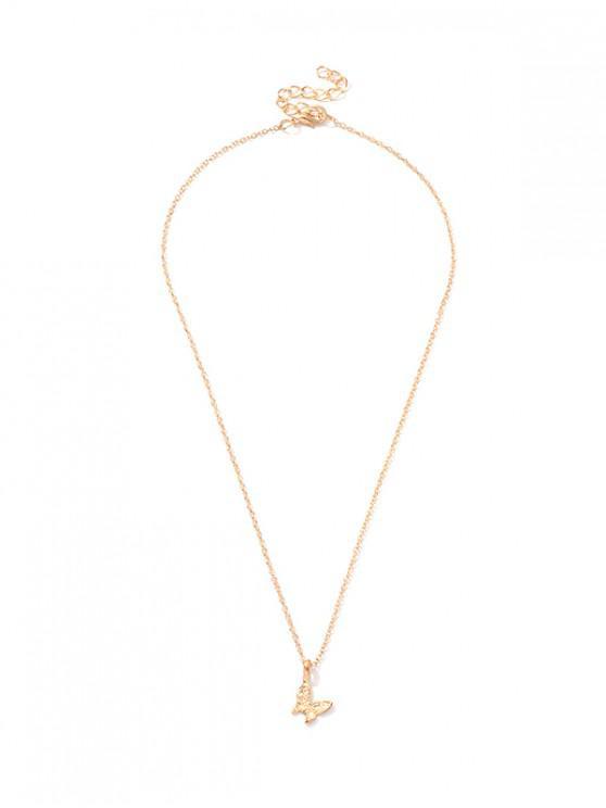 Collar Tallado Diseño Mariposa - Oro