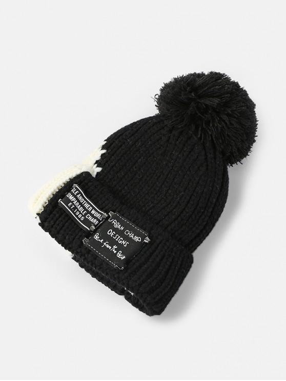 fashion Knitted Winter Colorblock Bobble Hat - BLACK