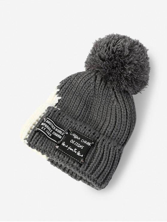 Malha Inverno Colorblock Bobble Hat - Cinza