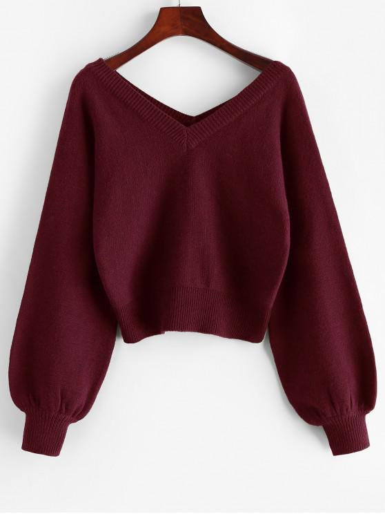 unique ZAFUL Raglan Sleeve Double V Neck Short Sweater - RED WINE S