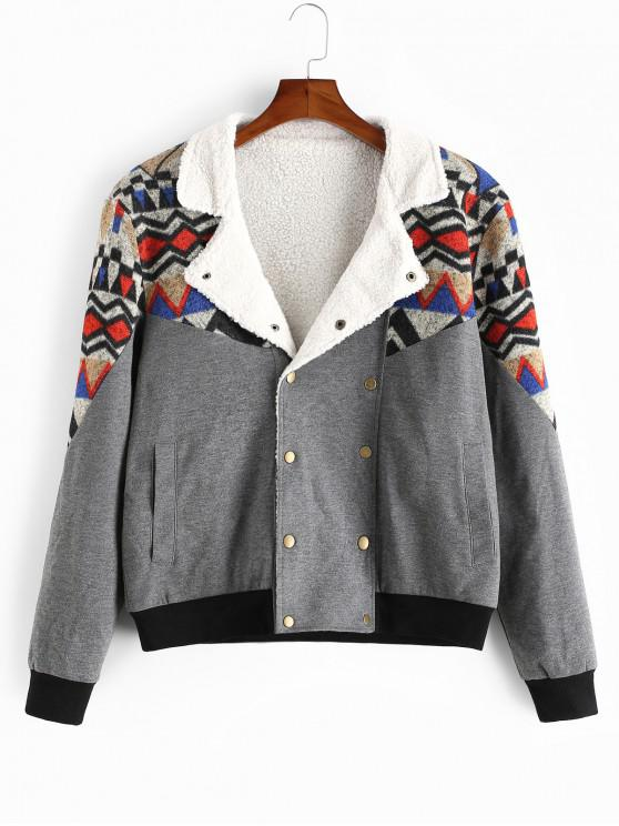 latest ZAFUL Tribal Geometric Print Spliced Faux Fur Fluffy Jacket - MULTI S