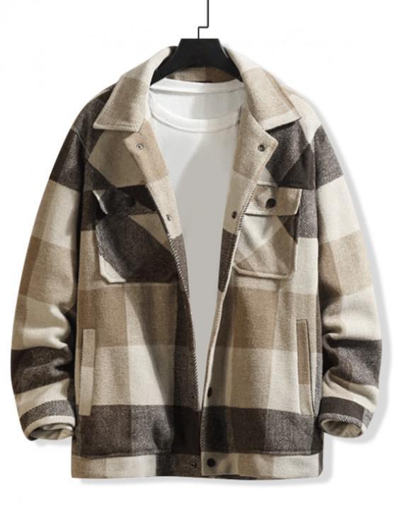 Karierter Muster Knopf Design Tasche Mantel - Braunes Kamel  XL