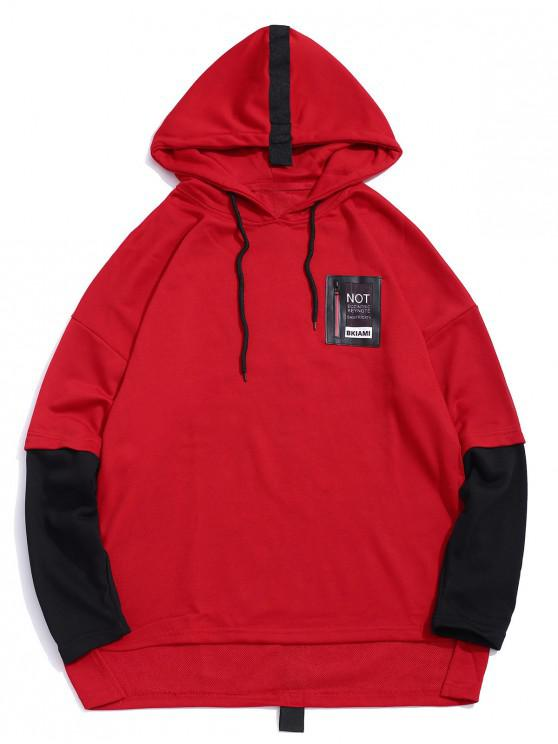 buy Graphic Pattern Faux Two Pieces Hoodie - RED L