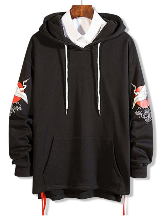 affordable Flying Crane Print Lace Up High Low Hoodie - BLACK 2XL
