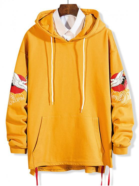 women Flying Crane Print Lace Up High Low Hoodie - BRIGHT YELLOW M