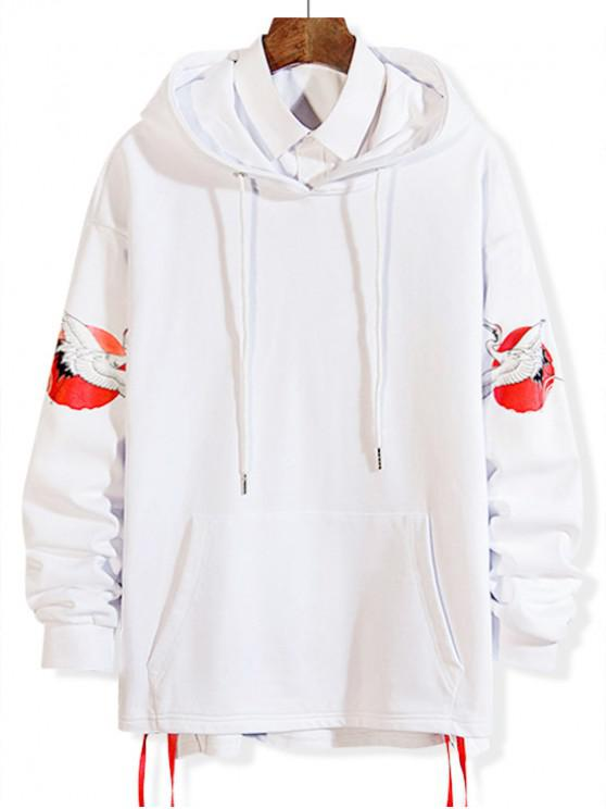 online Flying Crane Print Lace Up High Low Hoodie - WHITE S