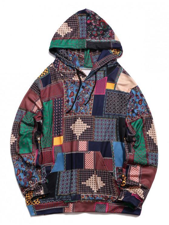 chic Glen Check Pattern Pocket Casual Hoodie - MULTI-A M