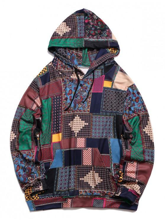 unique Glen Check Pattern Pocket Casual Hoodie - MULTI-A XL