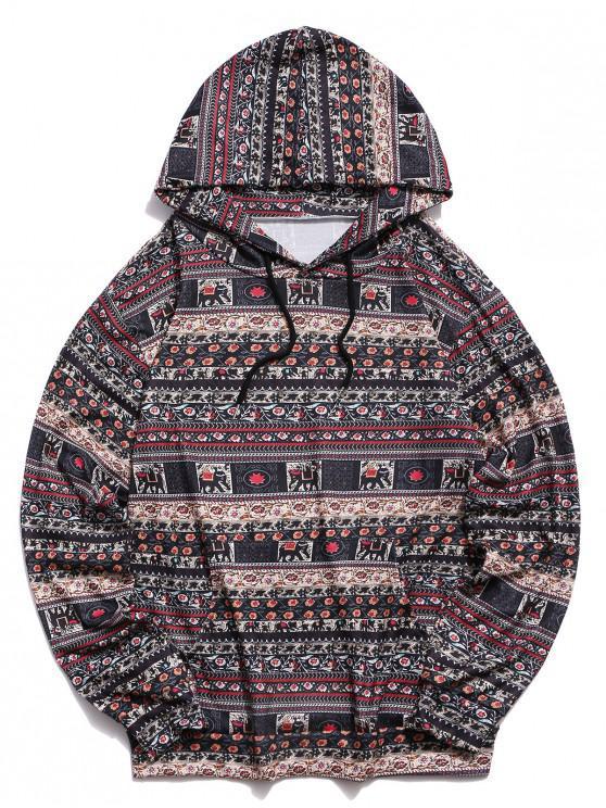 womens Tribal Printed Kangaroo Pocket Design Hoodie - MULTI-A L