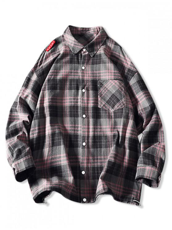 hot Plaid Pattern Casual Button Up Jacket - PIG PINK 2XL