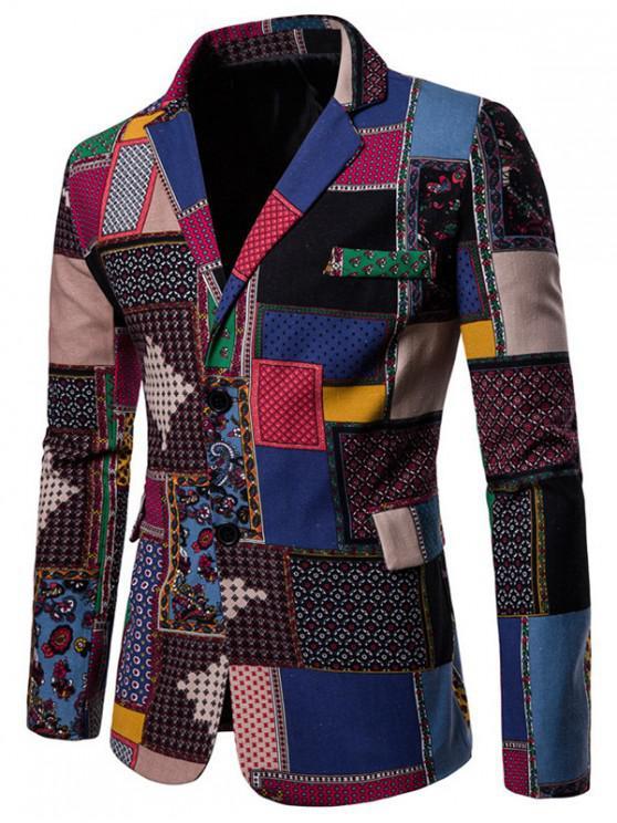 outfit Tiny Floral Tribal Print Spliced Back Split Blazer - MULTI-C M