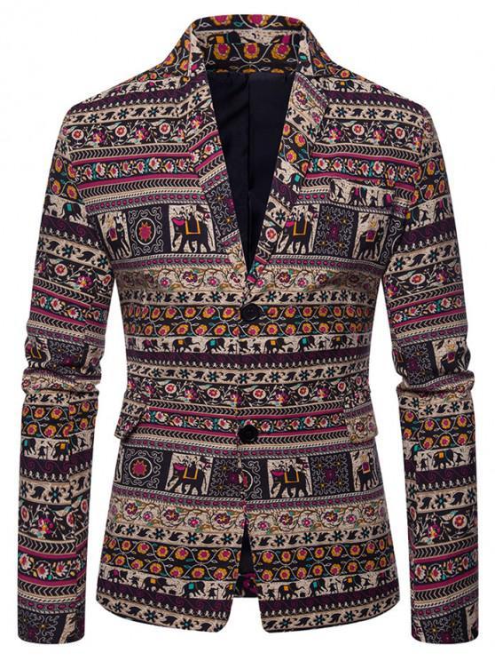 womens Ethnic Tribal Floral Print Slit Casual Blazer - MULTI-A 3XL