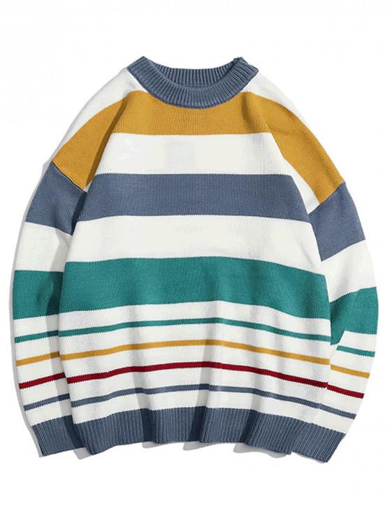 online Contrast Striped Graphic Knit Casual Sweater - PEACOCK BLUE L