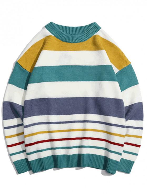 Contrast Striped Graphic Knit Pulover casual - Dark Turquoise XL