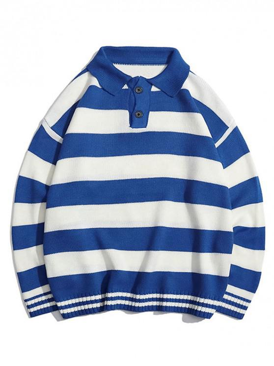 chic Contrast Striped Graphic Turn Down Collar Sweater - COBALT BLUE XL