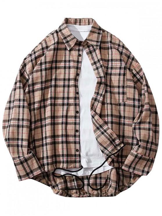 ladies Plaid Print High Low Chest Pocket Button Shirt - KHAKI ROSE M