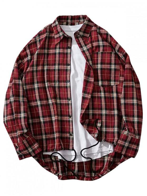 outfits Plaid Print High Low Chest Pocket Button Shirt - RED WINE 2XL