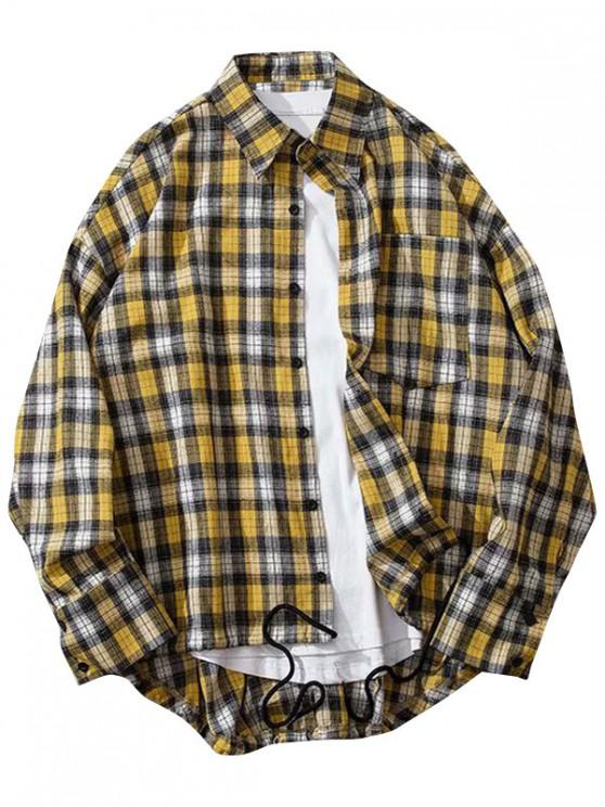 shop Plaid Print High Low Chest Pocket Button Shirt - YELLOW M