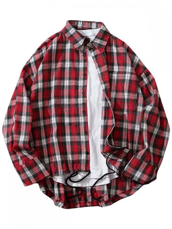 Plaid Print High Low piept de buzunar camasa buton - roșu XL