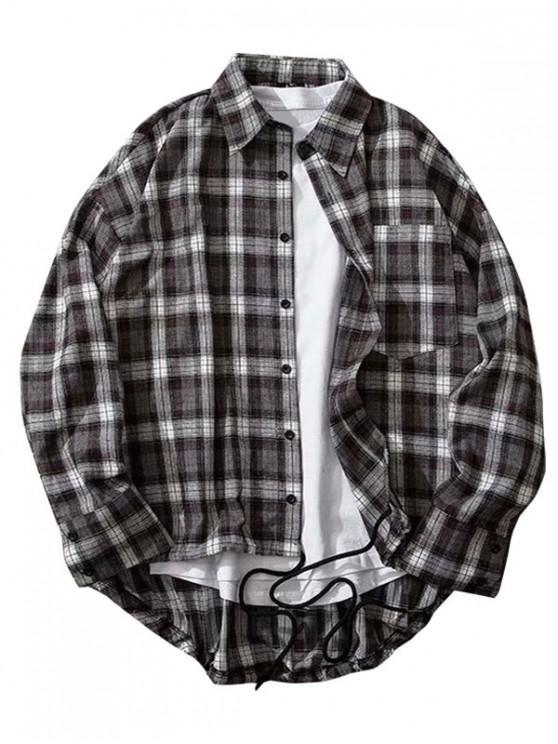 Plaid Print High Low piept de buzunar camasa buton - Dark Slate Grey M