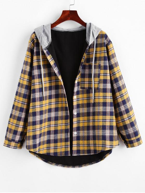fancy Hooded Fleece Line Plaid Front Pocket Top - YELLOW XL