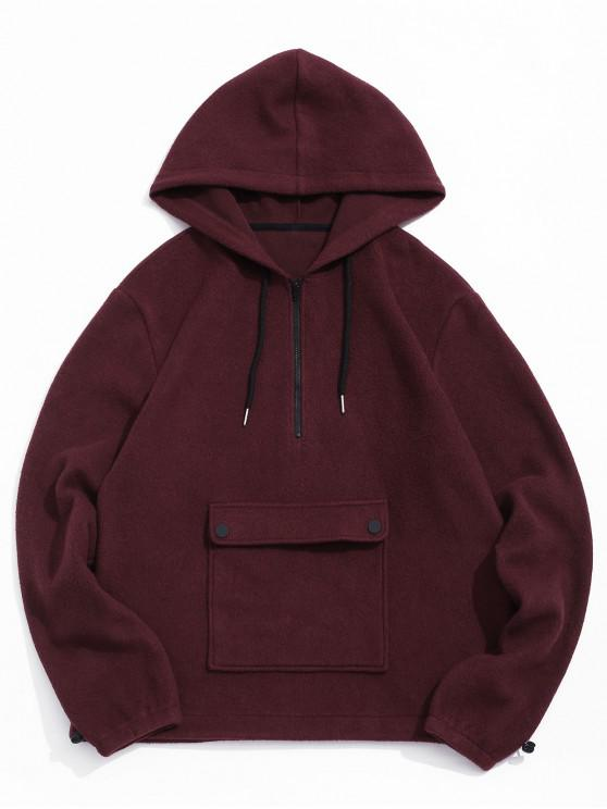 fashion ZAFUL Solid Front Pocket Half Zipper Casual Hoodie - RED WINE S