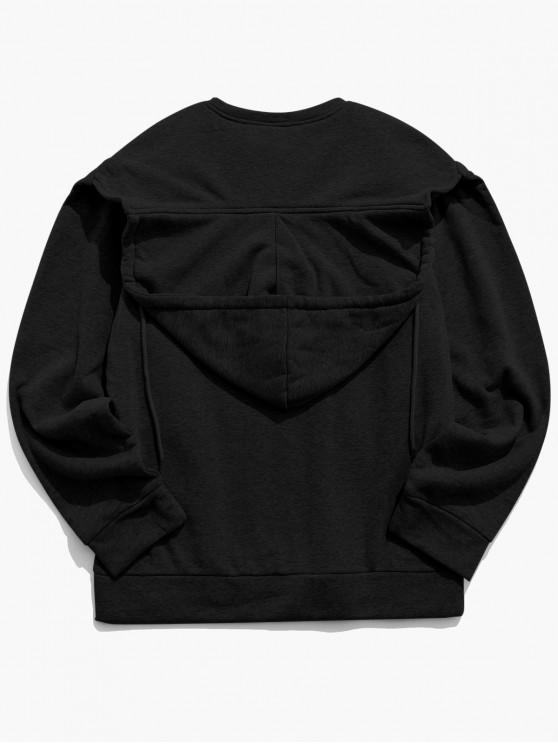 fashion Convertible Collar Front Pocket Fleece Hoodie - BLACK 2XL