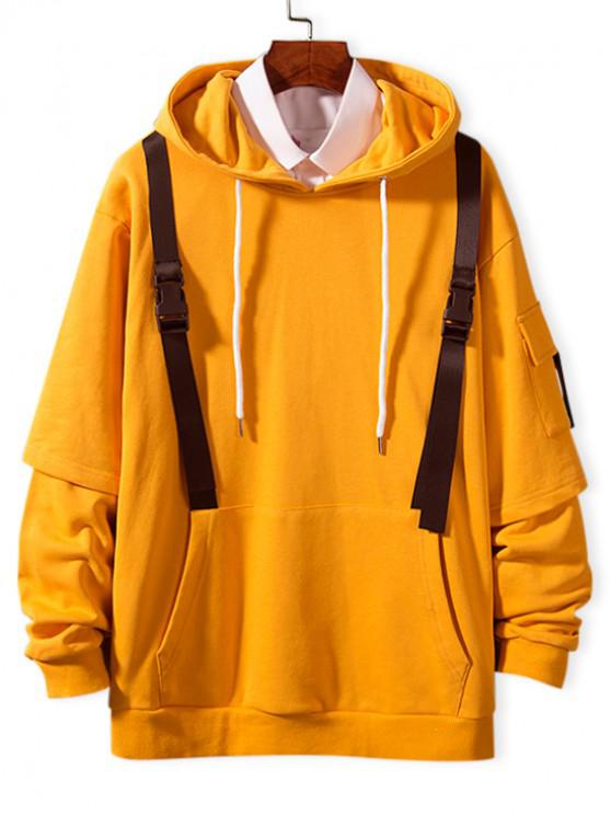 hot Faux Twinset Side Pocket Strap Embellished Hoodie - RUBBER DUCKY YELLOW XS
