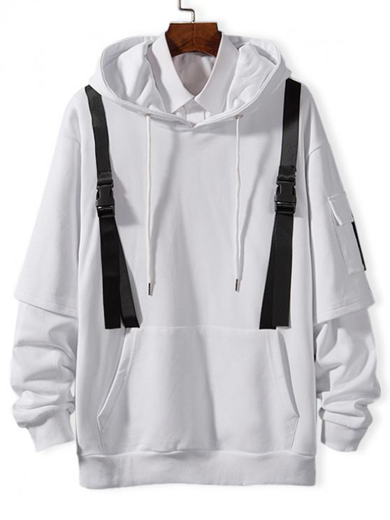 fashion Faux Twinset Side Pocket Strap Embellished Hoodie - WHITE M