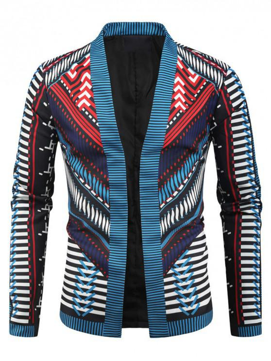 latest Geometric Graphic Tribal Print Open Front Blazer - MULTI-C 3XL