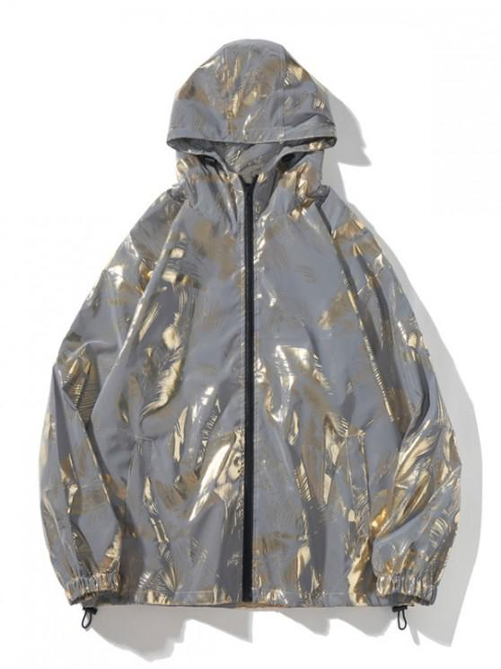 sale Reflective Print Zip Up Hooded Jacket - GOLD L