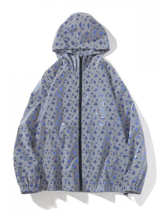 womens Reflective Print Zip Up Hooded Jacket - CRYSTAL BLUE M