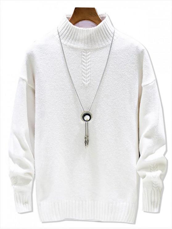 Casual solido di colore Mock Neck Pullover maglione - Bianca XS