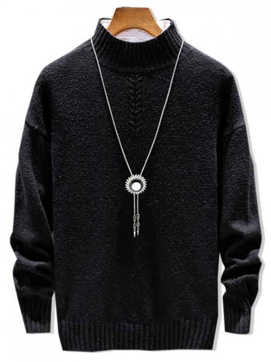 Повседневный Одноцветный Свитер Пуловер Моск воротник - Чёрный XS