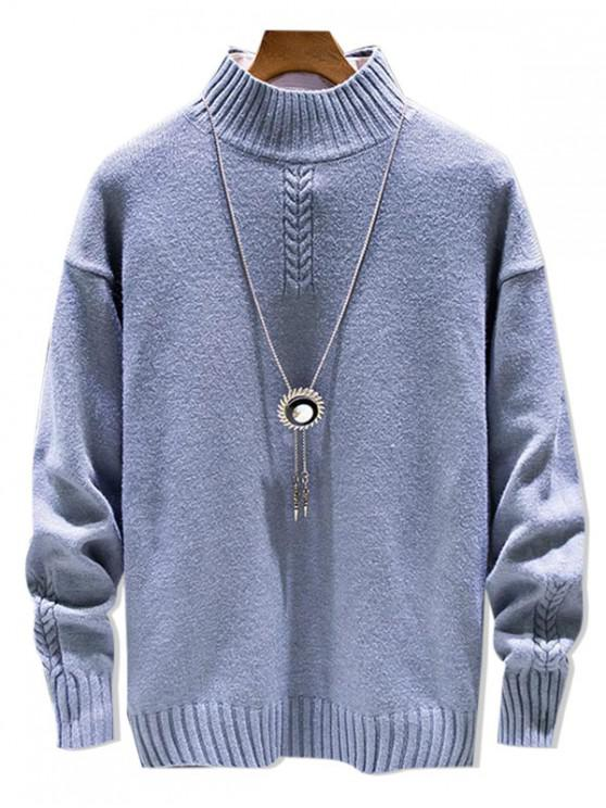 Повседневный Одноцветный Свитер Пуловер Моск воротник - Пастельно-синий M