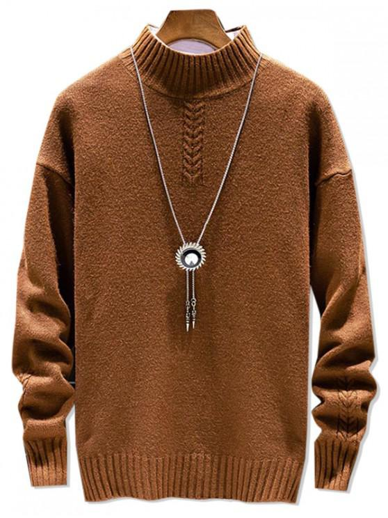 womens Casual Solid Color Mock Neck Pullover Sweater - COFFEE L