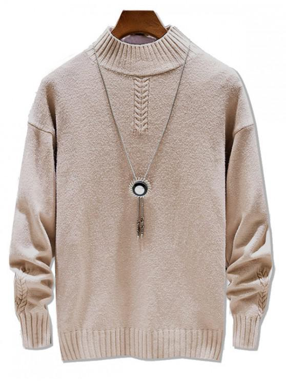 shops Casual Solid Color Mock Neck Pullover Sweater - LIGHT KHAKI S