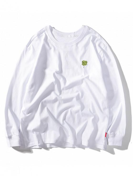 unique Four Leaves Embroidery Casual T-shirt - WHITE 2XL