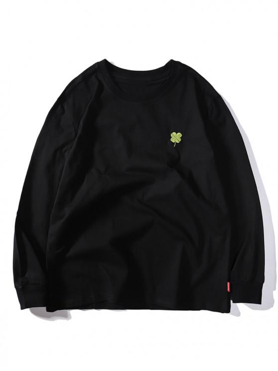 buy Four Leaves Embroidery Casual T-shirt - BLACK M