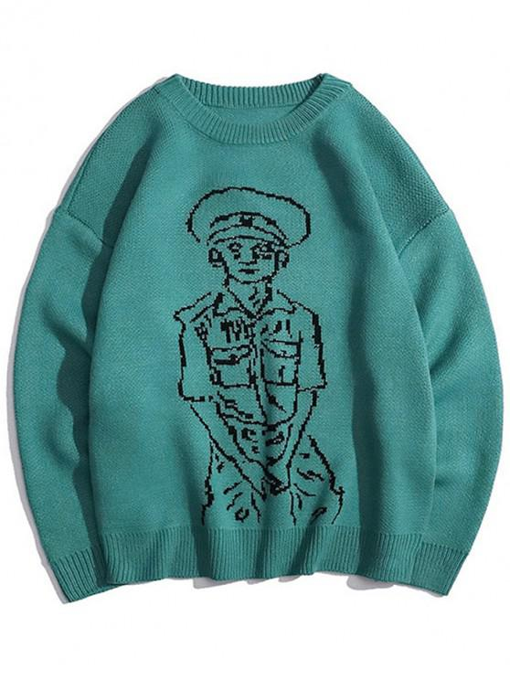 lady Character Graphic Crew Neck Casual Sweater - SEA TURTLE GREEN M
