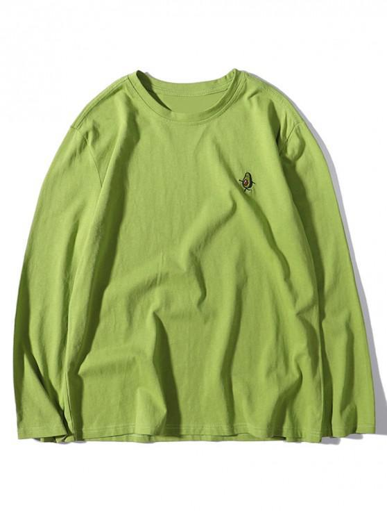 Avocado Print broderie maneca lunga Solid T-shirt - Ceapa verde M