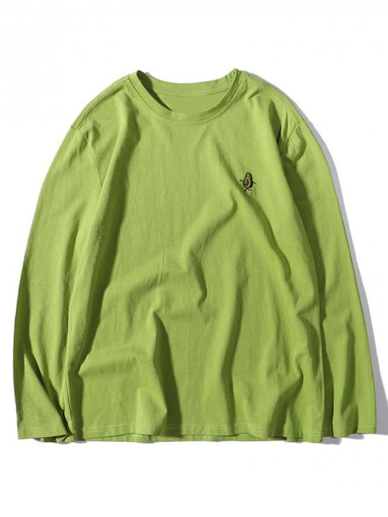 shop Avocado Print Embroidery Long Sleeve Solid T-shirt - GREEN ONION XL