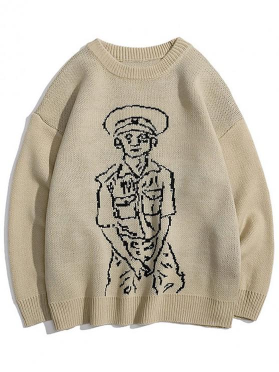 shops Character Graphic Crew Neck Casual Sweater - KHAKI L