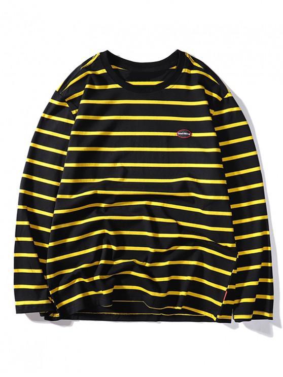 Contraste de la manga de las rayas bordado de la letra de la camiseta larga - Negro L