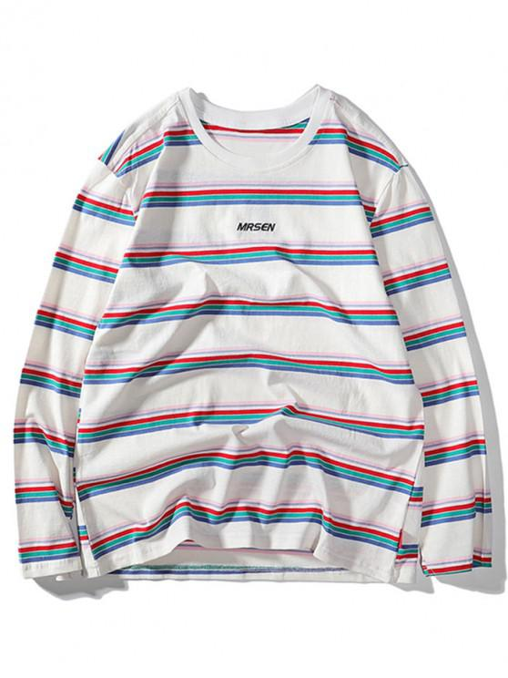 ladies Striped Letter Embroidery Casual T-shirt - WHITE L