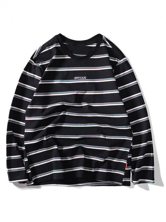 fashion Striped Letter Embroidery Casual T-shirt - BLACK 2XL