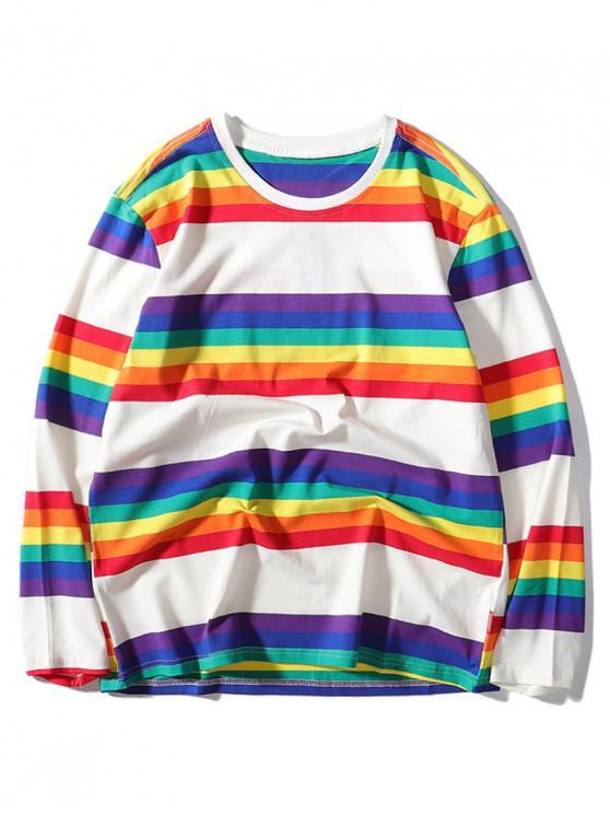 women Rainbow Striped Print Long Sleeve T-shirt - WHITE 2XL