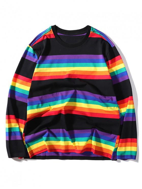 ladies Rainbow Striped Print Long Sleeve T-shirt - BLACK M